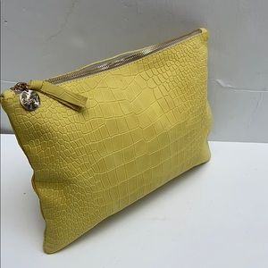 CLARE V. Embossed Leather Flat Clutch Yellow Small